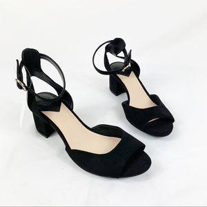 H&M Faux Suede Peeptoe Ankle Strap Heels Black